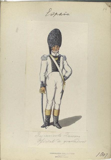 Regimento Zamora. Oficial de granaderos. 1807