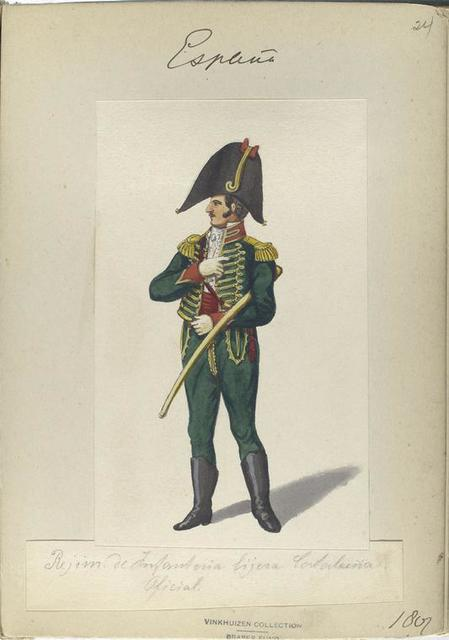 Rejim. de Infanteria ligera Cataluña. Oficial. 1807