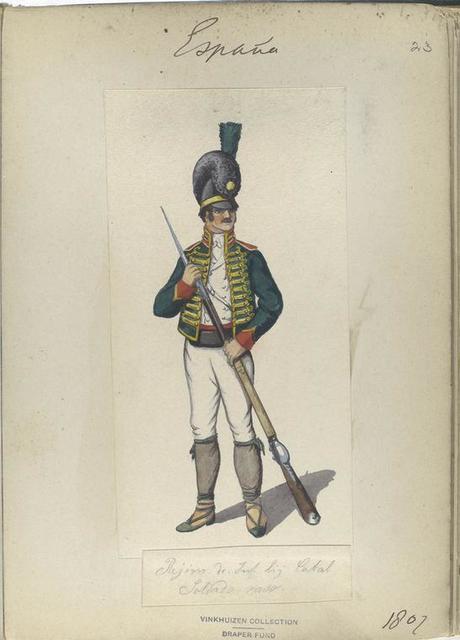 Rejim. de Infanteria ligera Cataluña. Soldado raso. 1807