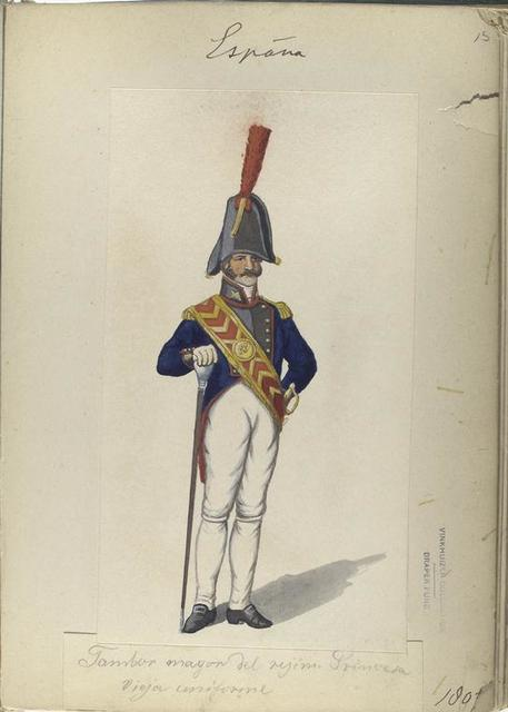 Tambor mayor del reg. Princesa, vieja uniforme. 1807