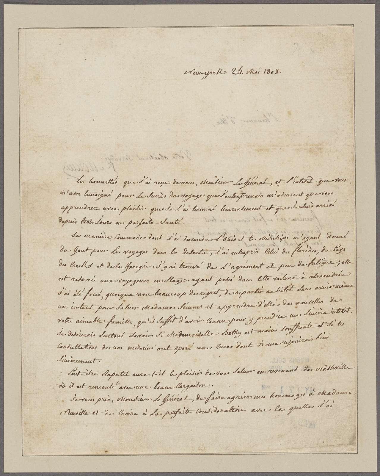 Lafayette, [Marquis de]. New York. To General Neuville