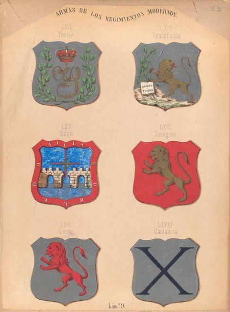 Armas de Los Regimientos  Modernos, LXIII. Yberia, LXIV. Constitucion, LXV. Union, LXVI. Zaragoza, LXII. Leon, LXVIII. Cantabria