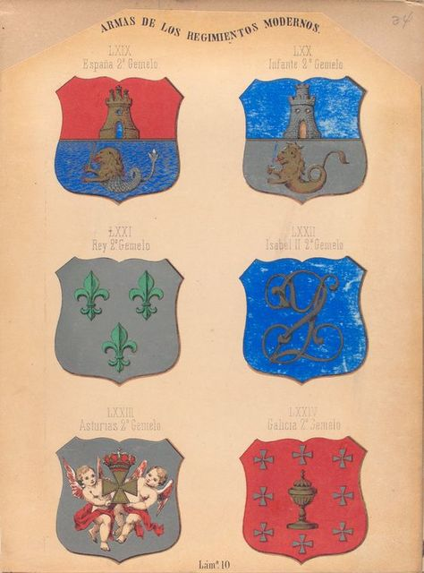 Armas de Los Regimientos Modernos, LXIX. España 2º Gemelo, LXX. Infante 2º Gemelo, LXXI. Rey 2º Gemelo, LXXII. Isabel II. 2º Gemelo, LXXIII. Asturias 2º Gemelo, LXXIV. Gelicia 2º Gemelo