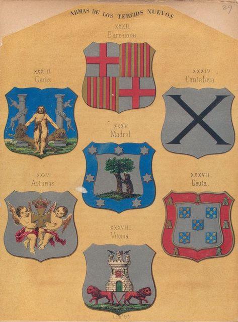Armas  de Los Tercios Nuevos, XXXII. Barcelona, XXXIII. Cadiz, XXXIV. Cantabria, XXXV. Madrid, XXXVI. Asturias, XXXVII. Cueta, XXXVIII. Vitoria