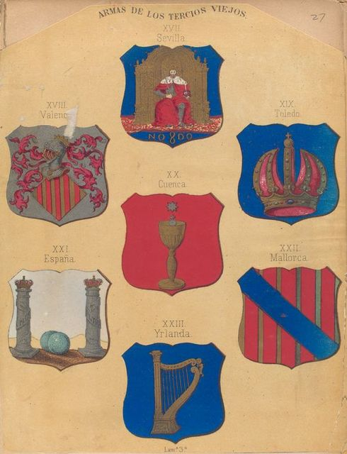Armas De Los Tercios Viejos, XVII. Sevilla, XVIII. Valen[cia], XIX. Toledo, XX. Cuenca. XXI. España, XXII. Mallorca, XXIII. Yrlanda