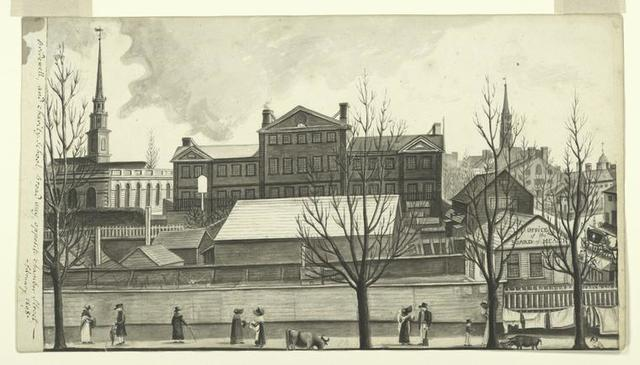 Bridewell, and Charity-School, Broadway, opposite Chamber Street - February 1808.