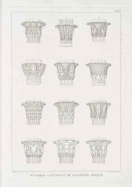 Diversi capitelli di colonne Egizie.