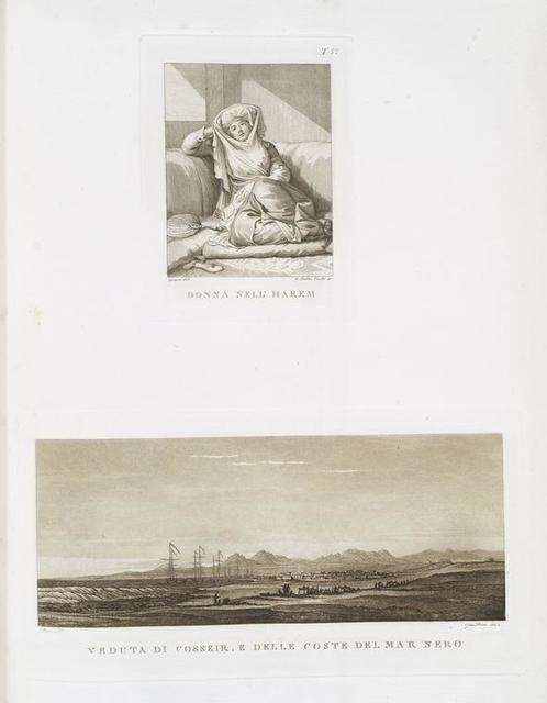 Donna nell' Harem; Veduta di Cosseir, e delle coste del Mar Nero.