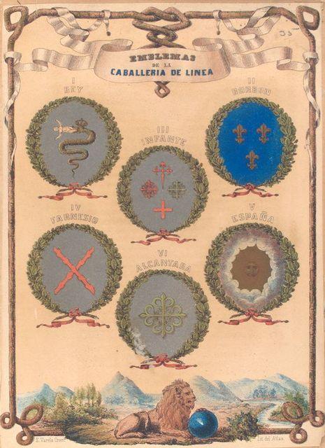 Emblemas  de La Caballeria De Linea, I. Rey, II. Borbon, III. Infante, IV. Farnesio, V. España, VI. Alcantara