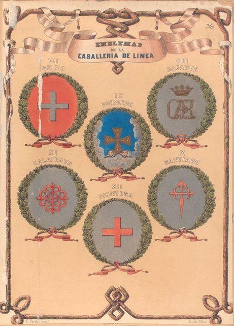 Emblemas de La Caballeria de Linea, VII. Reina, VIII. Alcarve, IX. Principe X. Santiago, XI. Calatrava, XII. Montesa