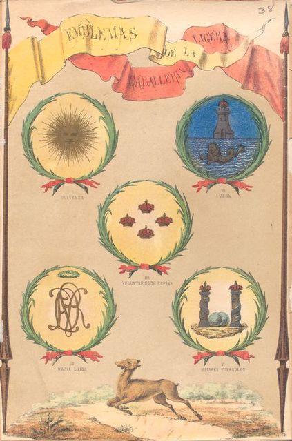 Emblemas de La Caballeria Ligera, I. Olivenza, II. Luzon, III. Voluntarios de España, VI. Maria Luisa, V. Husares Españoles