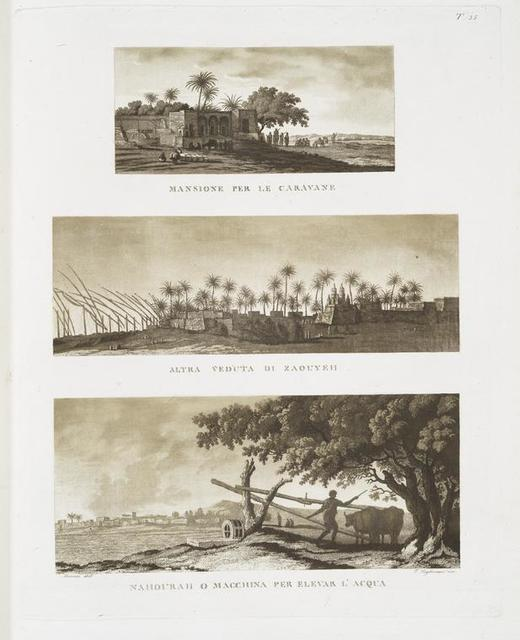 Mansione per le caravane; Altra veduta di Zaouyeh; Nahourah [= noria] o macchina per elevar l'acqua.