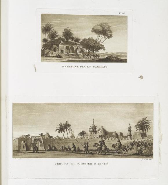 Mansione per le caravane; Veduta di Djirdieh o Girgé.