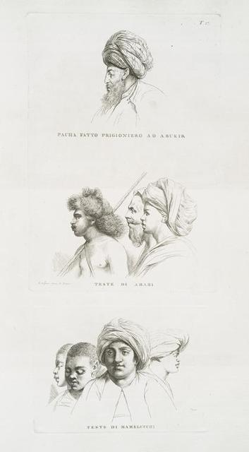 Pacha fatto prigioniero ad Abukir; Teste di Arabi; Teste di Mamelucchi.