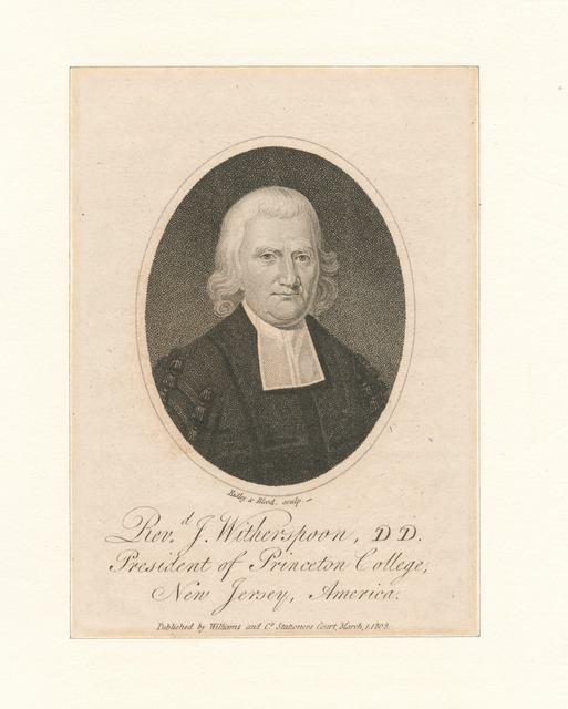 Revd. J. Witherspoon, DD., president of Princeton College, New Jersey, America.