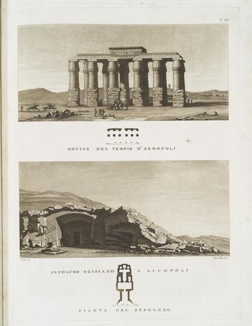 Rovine del tempio d'Ermopoli;  Sepolcro Egiziano a Licopoli; Pianta del sepolcro.