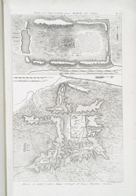 Rovine d'un Tempio d'Iside [Isis] presso Beibeth [Behbeit el-Hagar] nel Delta;  Rovine de Sann [San el-Hagar = Tanis] , l'antica Tanis Metropoli del Nomo, o Prefellura Tanitica.