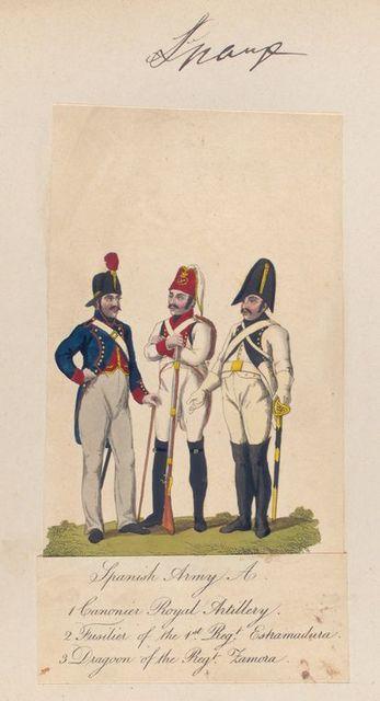 Spanish Army A, 1. Canonier Royal artillery, 2. Fusitier of the 1st Regt Estramadura 3. Dragoon of the Regt Famora