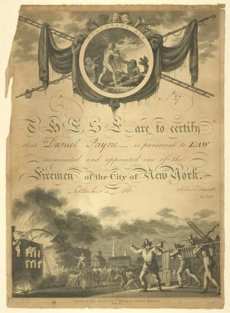 """These are to certify that """"Daniel Payne"""" is pursuant to law, nominated and appointed one of the Firemen of the City of New York, September 5th, 1808, John Pintard, clerk"""