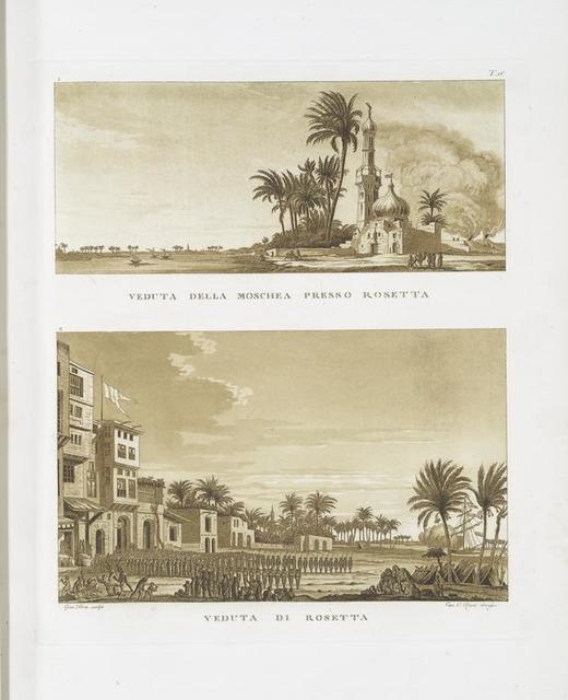 Veduta della Moschea presso Rosetta; Veduta di Rosetta.