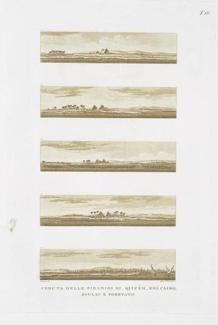 Veduta delle Piramidi di Gjizéh, del Cairo, Boulac e forstath.