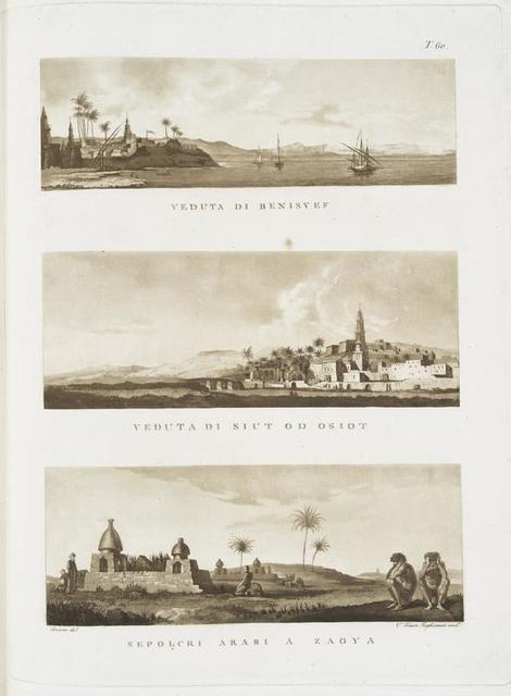 Veduta di Benisuef; Veduta di Siut o d'Osiot [Asyû.t]; Sepolcri Arabi a Zaoya.
