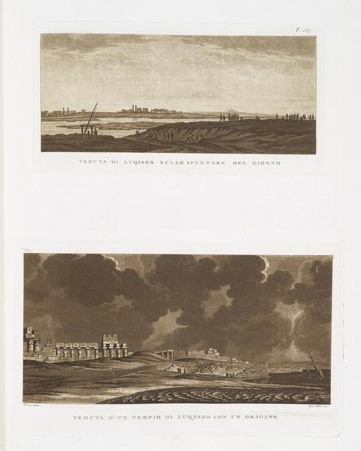 Veduta di  Luqssor sullo spuntare del giorno; Veduta d'un tempio di Luqssor con un oragano.