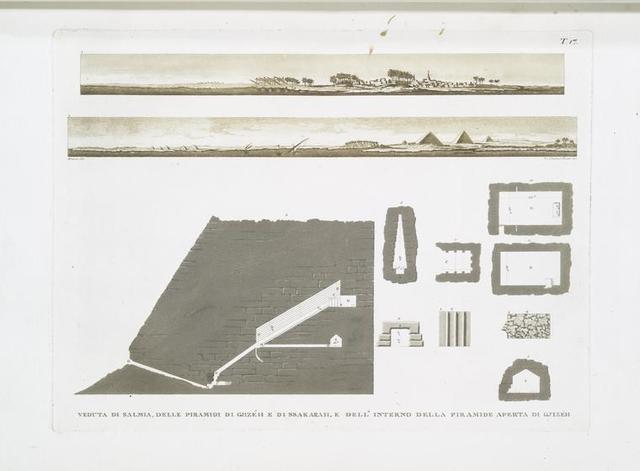 Veduta di Salmia, delle Piramidi di Gjizéh e di Ssakarah, e dell'interno della Piramide aperta di Gjizéh.
