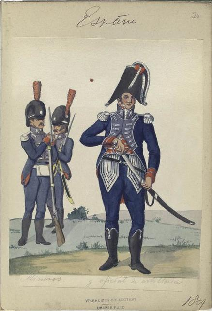 España, mineros y oficial de artilleria