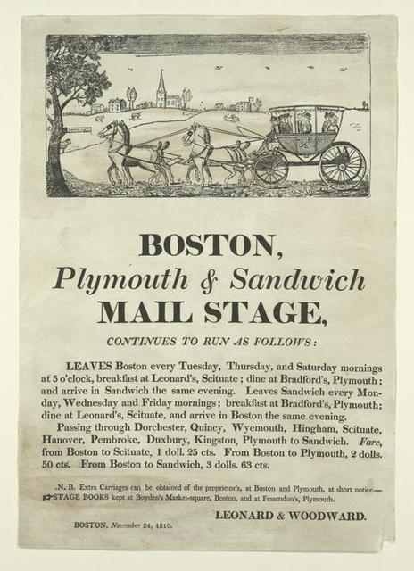 Boston, Plymouth and Sandwich mail stage, continues to run as follows....