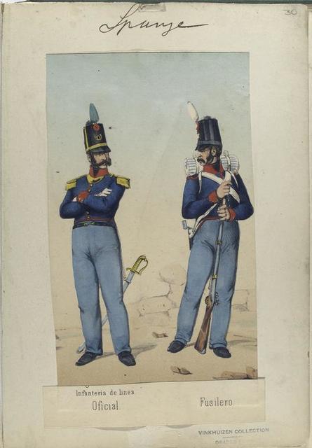 Infanteria de linea: Oficial, Fusilero. 1811