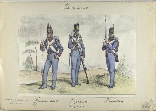 1. Granadero ; 2. Fusilero; 3. Cazador.  (Linea).  1812