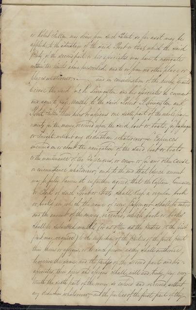 1808, Aug. 20, Contract between Robert R. Livingston & Robert Fulton and John R. Livingston 1814
