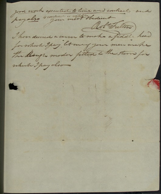 1809, Aug. 1, ALS, Robert Fulton at Clermont Manor, to Charles Browne, ship builder, Lombard St., NY