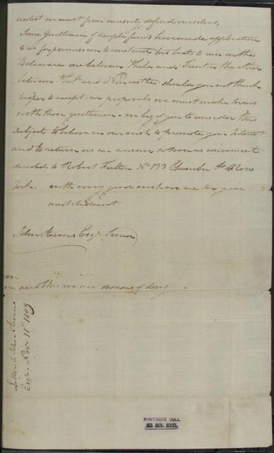 1809, Nov. 11, AL, Robert Fulton at Clermont Manor to John Stevens, urging collaboration