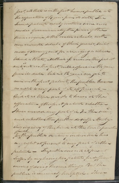 1811, Aug. 4, D.S. , Notes for patent of 1809, by Robert Fulton; with typescript