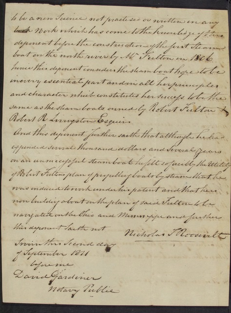 1811, Sept. 2, Extract from affidavit of Nicholas Roosevelt regarding Robert Fulton's  claim to invention