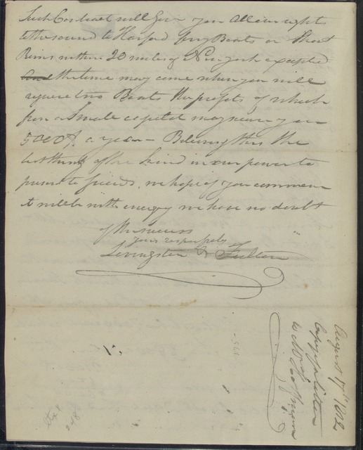 1812, Aug. 17, Robert R. Livingston & Robert Fulton at Clermont to Mr. Hoffman, states opposition to   competition in Poughkeepsie, recommends East River