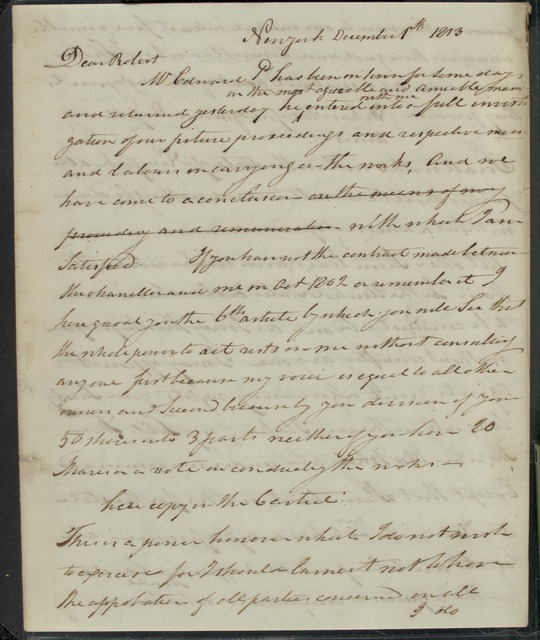 1813, Dec. 1, AL, draft of letter from Robert Fulton to Robert R. Livingston