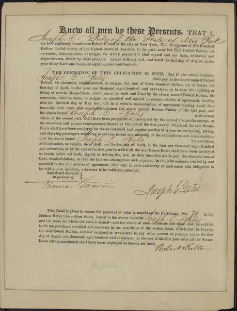 1814, Aug. 1, Promissory note of Joseph C. Yates promising to pay Robert Fulton $300 for stock in Hudson River Steamboat Co.