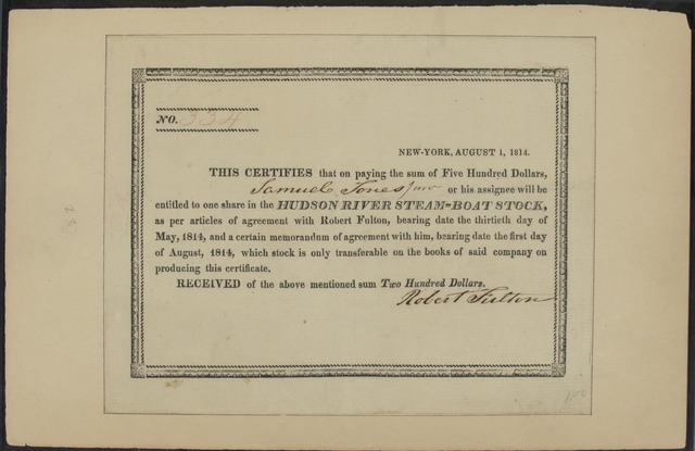 1814, Aug., Stock certificate for one share of H.R. Steamboat Co. made out to Samuel Jones, Jr.