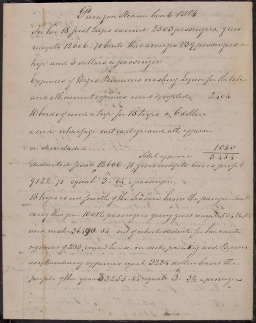 """1814 Receipts & expenses of Steamboats """"Paragon"""" and """"Car of Neptune"""""""