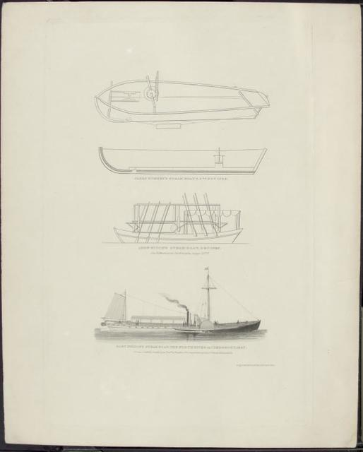 """Engraving of steamboats: James Ramsey's steamboats, 1788; John Fitch's steamboat, 1787; North River or """"Clermont,"""" 1807"""