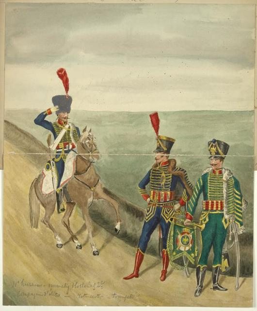 France (Holland). 11-e huzaren - vormeliijk Hollandsch 2-e Compagnie d'élite, ritmeester, trompetter. (1812)