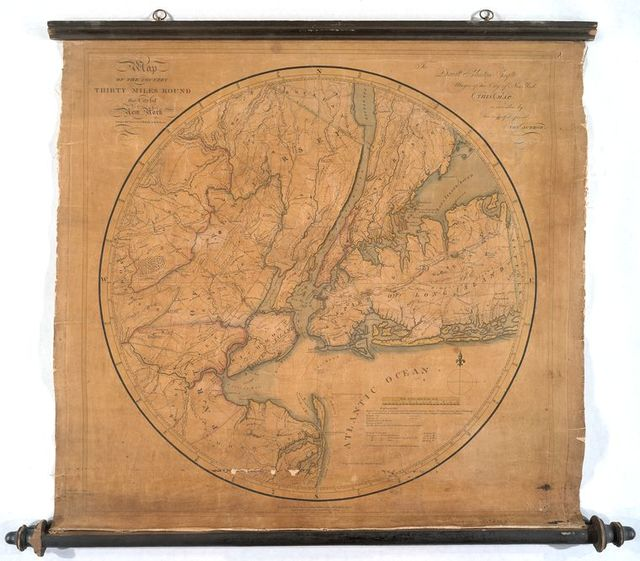 Map of the country thirty miles round the city of New York