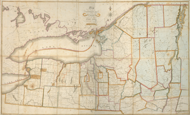 Map of the northern part of the state of New York