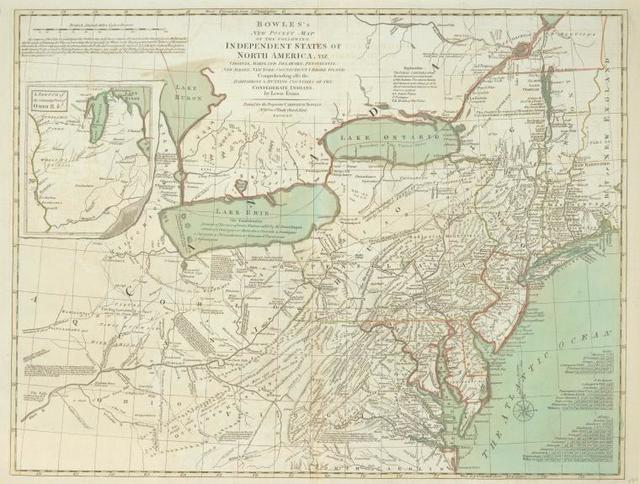 Bowles's new one-sheet map of the independent states of Virginia, Maryland, Delaware, Pensylvania, New Jersey, New York, Connecticut, Rhode Island, &c. : comprehending also the habitations & hunting countries of the confederate Indians.
