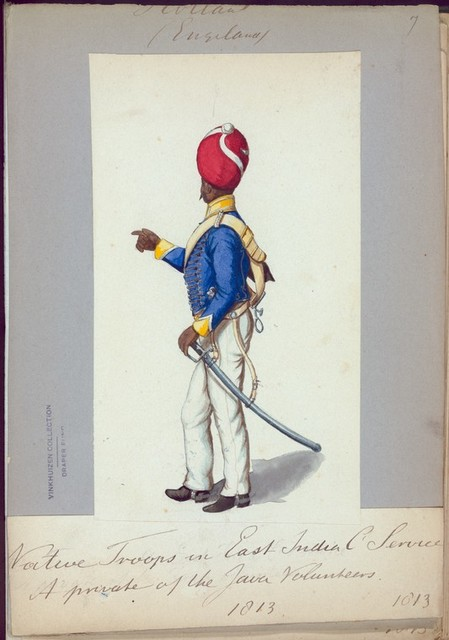 Holland (Engeland). Native Troops in East Indien C. Service. A private of the Java Volunteers. (1813)