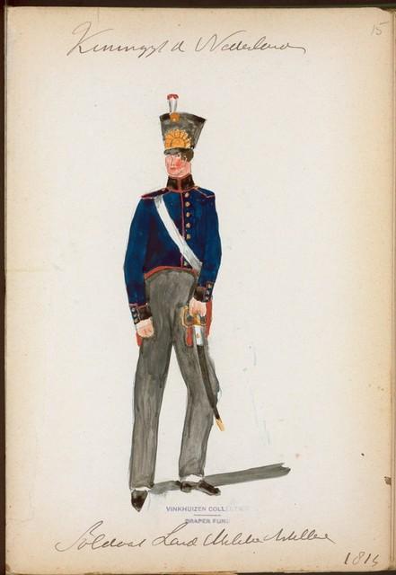 Koningryk der Nederlanden. Soldaat Land Nederlands Artillerie. (1814)
