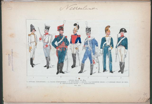Nederlanden. Légion Belge en 1814: 1. Officier d'Infanterie, 2. Soldat d'Infanterie, 3. Artillerie à cheval, 4. Carabinier Belge. 5. Hussard Belge de Croy, 6. Chevau-Léger Belge, 7. Maréchaussée. (1814)